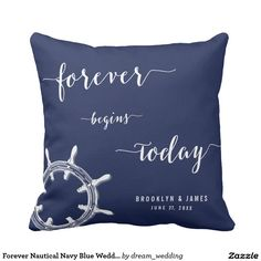 Shop Forever Nautical Navy Blue Wedding Pillows Wheel created by dream_wedding. Blue Throw Pillows, Throw Pillow Cases, Cushion Covers, Pillow Covers, Blue Wedding, Dream Wedding, Wedding Pillows, Nautical Art, Sofa Home