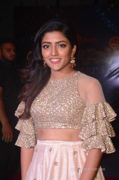 Eesha Rebba Photos at Zee Telugu Comedy Awards 2018 - Telugu Actress Saree Jacket Designs, Netted Blouse Designs, Choli Designs, Fancy Blouse Designs, Bridal Blouse Designs, Blouse Neck Designs, Sharara Designs, Blouse Patterns, Modele Hijab