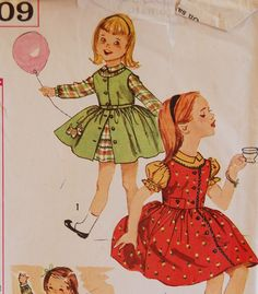 "Vintage 1950s Simplicity Girls Dress and Jumper Pattern 3609 Size 5 (23 1/2"" Chest). $6.50, via Etsy."