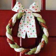 Christmas Wreath Braided Fabric Polka Dot by HolidaySpiritsDecor, $25.00