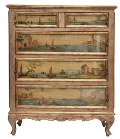Sooooo pretty!  Italian Hand Painted Chest Of Drawers