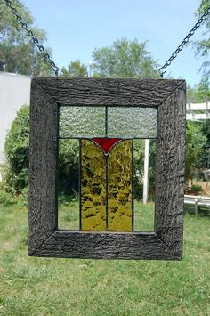 Stained Glass Panel with Rustic Weathered and Distressed Barnwood Frame - Window Hanging - Handcrafted. $70.00, via Etsy.