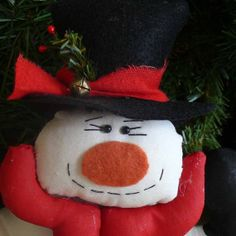 Handmade Snowman Shelf Sitter Thinking About by SnowmanCollector, $15.00