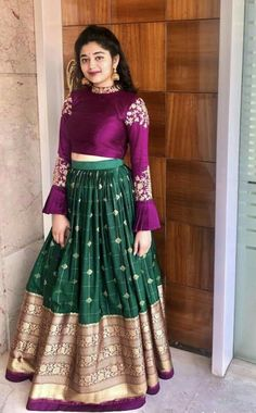 Indian Gowns Dresses, Indian Fashion Dresses, Indian Designer Outfits, Indian Outfits, Half Saree Lehenga, Lehenga Saree Design, Lehenga Designs, Lehenga Gown, Kids Lehenga Choli