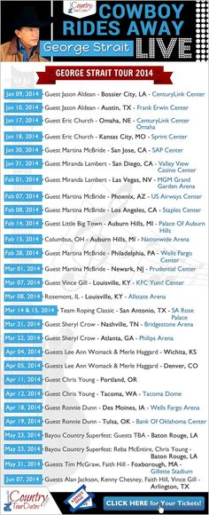 #GeorgeStrait Tour Dates 2014 - Cowboy Rides Away ALL the cities,venues,dates ++ SURPRISE Guest last day of tour. I still can't believe this is our last chance to see George Strait live. Be sure & sent this to your friends!!