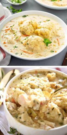 Quick Chicken And Dumplings, Homemade Dumplings, Quick Chicken Recipes, Dumpling Recipe, Easy Comfort Food Recipes, Simple Soup Recipes, Chicken Dumpling Casserole, Dumplings For Soup, Winter Dinner Recipes