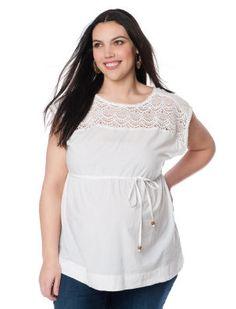 Destination Maternity Plus Size Short Sleeve Scoop Neck Tie Front Maternity Top