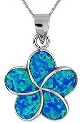 "Rhodium Plated Sterling Silver Synthetic Blue Opal Plumeria 17mm Pendant Necklace, 16+2"" Extender"