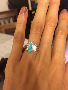 So in love with my beautiful rose gold and turquoise engagement ring by the incredible John Tolle in Laguna Beach!!!