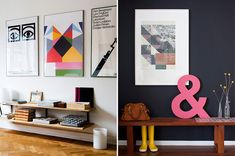 Big bold art via Miss Moss. Right photo from Lou Mora's apartment on Design Sponge