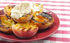 Grilled Peaches with Mascarpone Cream and Honey | Grilling peaches caramelises their natural sugars and increases their sweetness. Cook under the grill or on the BBQ. Recipe at www.afoodieworld.com