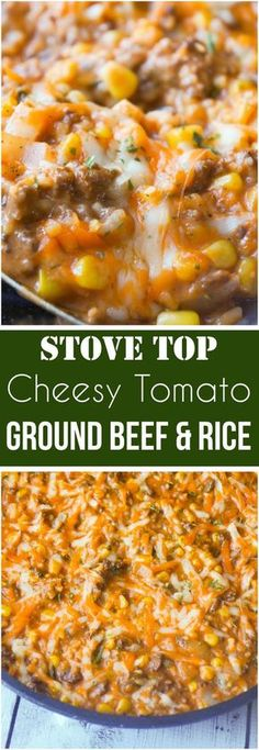 Easy dinner recipe with ground beef. This Cheesy Tomato Ground Beef and Rice is an easy stove top dinner recipe packed with flavour. This ground beef dish is made with cream of tomato soup, canned corn, instant rice and loaded with cheddar cheese. Ground Beef Rice, Ground Beef Dishes, Meal With Ground Beef, Ground Venison, 1 Lb Ground Beef Recipe, Ground Beef Recipes Simple, Easy Ground Beef Meals, Ground Beef And Rice Recipes For Dinner, Ground Beef Recipes Skillet