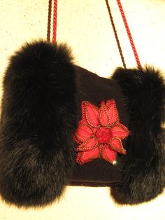 Hand Muff with zipper flower. Hand Warmer.  Black hand muff. Winter Accessory. Original Valentine Days gifts for her. Valentine hand muff (55.00 USD) by ZipperGallery