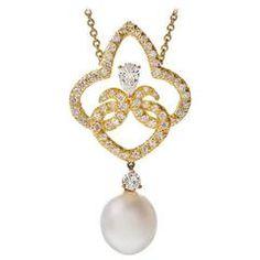 Stylized Fleur de Lis Drop Pearl Diamond Gold Pendant
