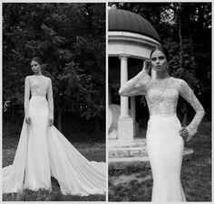 Wholesale Sheath Wedding Dresses - Buy 2014 Hot Elegent Sheath Wedding Dresses Berta Bridal Lace Appliques Jewel Neck Long Sleeves Sheer Long Train Winter Formal Gowns BO3928, $140.91 | DHgate