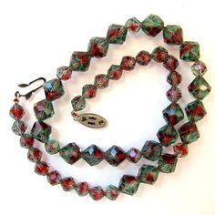 New Listing - Vintage Bi Red Green Crystal Necklace