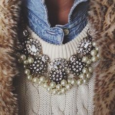 faux fur vest, cable sweater, chambray shirt, statement necklace