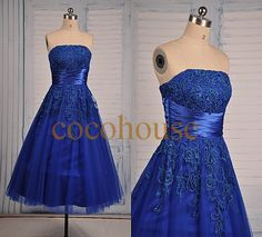 New Royal Blue Lace Applique Tea length Prom Dresses Bridesmaid Dresses Homecoming Dresses Evening Dresses Wedding Party Dress Formal Dress Royal Blue Lace Dress, Royal Blue Bridesmaid Dresses, Blue Dresses, Marine Uniform, Strapless Dress Formal, Formal Dresses, Tea Length Dresses, Wedding Party Dresses, Pretty Dresses