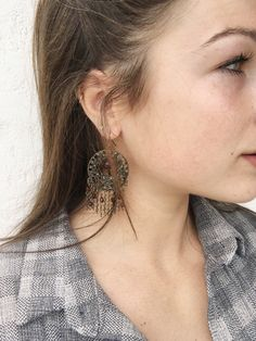 Boho Burgundy Bead Earing