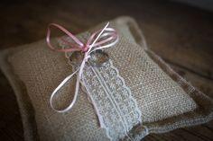 Ring bearer burlap wedding ring cushion