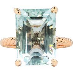 Vintage Emerald Cut Aquamarine Solitaire Ring Circa 1990's Braided Rope 14k Rose Gold Cocktail Statement Ring   #VintageBeginsHere at www.rubylane.com @Ruby Lane Vintage