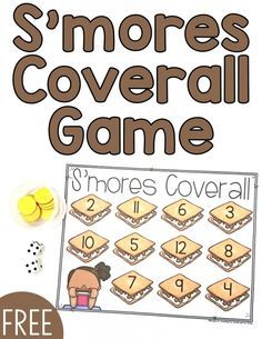 Smores Coverall Game from Recipe for Teaching Kindergarten Math Games, Preschool Games, Summer School Themes, Camping Activities, Nanny Activities, Holiday Activities, Campfire Games, Early Math, Forest Theme