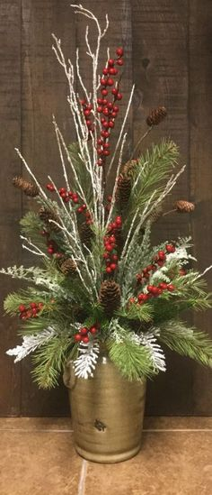 DIY Christmas Floral Arrangements - DIY Cuteness - DIY Christmas Floral Arrangements – DIY Cuteness Best Picture For raised garden For Your Taste - Winter Floral Arrangements, Christmas Flower Arrangements, Christmas Flowers, Winter Christmas, Christmas Wreaths, Christmas Crafts, Christmas Candles, Christmas Ideas, Christmas Time