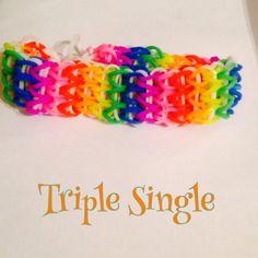 Rainbow Triple Single Bracelet made on fork