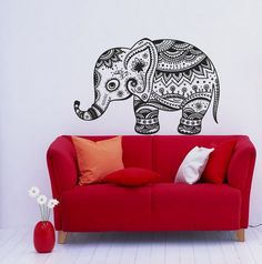 Housewares Wall Vinyl Decal Animal Vintage Elephant Patterns Art Indian Design Murals Interior Decor Sticker Removable Room Window SV2354 on Etsy, $24.99