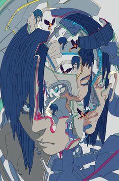 Ghost in the Shell: Global Neural Network Character Illustration, Illustration Art, Manga Anime, Anime Art, Character Art, Character Design, Arte Cyberpunk, Ghost In The Shell, Psychedelic Art