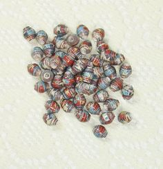 Paper Beads, Loose Handmade Supplies Itty Bitty Vintage Stars and Stripes by ThePaperBeadBoutique on Etsy