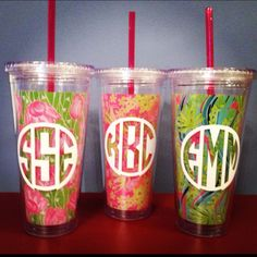 Monogrammed Lilly Pulitzer straw cups from www.itsagirlthingmonograms.com