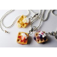 Waffle Best Friend Necklaces, MIniature Food Jewelry, Friendship... ($30) ❤ liked on Polyvore