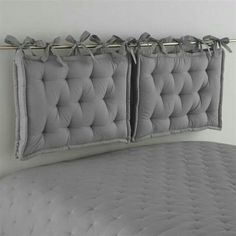 DIY headboard with chair cushions with ties and curtain rod # headboard . : DIY headboard with chair cushions with ties and curtain rod rail – Headboards For Beds, Curtain Rod Headboard, Pillow Headboard, Diy Futon, Bedroom Diy, Futon Living Room, Bed, Futon Cushions, Diy Headboard