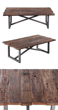 Anchor your rustic or urban contemporary living room with this thoroughly handsome accent. Topped with a rectangular, heavily-grained and textured salvaged wood surface, this Eldon Coffee Table is show...  Find the Eldon Coffee Table, as seen in the Vintage Americana Collection at http://dotandbo.com/collections/vintage-americana-1?utm_source=pinterest&utm_medium=organic&db_sku=120576