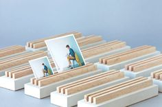 Concrete photo slats by Print Studio | You can print your photos there and buy accessories to show them around.