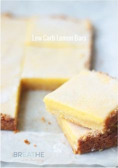 Lemon bars! A low carb and gluten free lemon bar recipe that's just as good or better than the original - without the guilt and bloating! Atkins, gluten free, keto, low carb, lchf friendly.