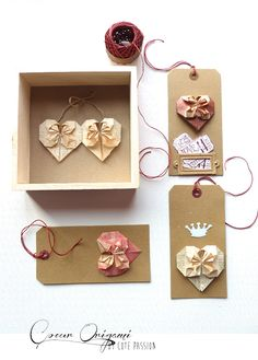 Coeurs origami papiers vintage by Côté Passion