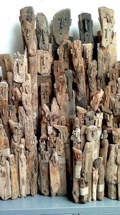 Faces / Driftwood sculpture by Marc Bourlier Sculptures Céramiques, Sculpture Art, Driftwood Sculpture, Driftwood Crafts, Art Plastique, Wood Carving, Garden Art, Art Dolls, Art Projects