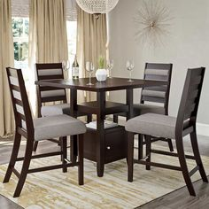 Auralie Counter Height 5-pc. Dining Set with Grey Chairs