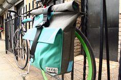 Large Pannier/Backpack Hybrid Bag - Charcoal Tweed & Aqua Canvas. $195.00, via Etsy.