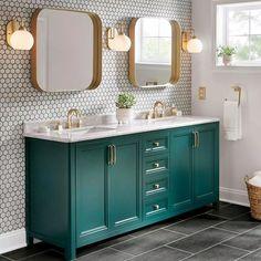 Blue Bathroom Vanity, Bathroom Colors, Small Bathroom, Bathroom Ideas, Master Bathroom, Bathroom Vanities, Green Marble Bathroom, Quirky Bathroom, Green Bathroom Decor