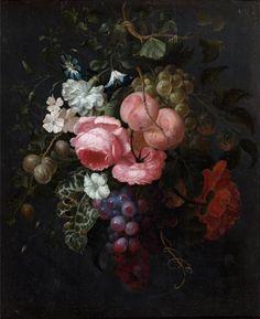 """Attribué à Ernst STUVEN (1657-1712). """"Bouquet de fleurs"""". Toile. 53 x 43 cm. Cadre en chêne en bois sculpté et doré. Restaurations anciennes."""
