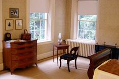 15 writers' bedrooms: This is Emily Dickinson's bedroom and pictured is the small desk where she created some of the greatest poetry in the English language. Also included are the bedrooms of Virginia Woolf and Sylvia Plath, which look *exactly* like I would have pictured them.