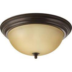 Progress Lighting 3-Light Antique Bronze Flushmount-P3926-20T - The Home Depot