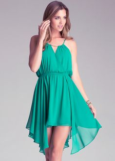 Wrap Front Beading Straps Irregular Hem Green Dress on Luulla