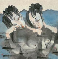 Untitled (2 women in water) by Chinese artist Liu Qinghe (b.1961). 98 x 98 cm. via art123