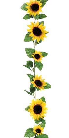 Silk Sunflower Garland in Yellow<br>6' Long with 11 Flowers