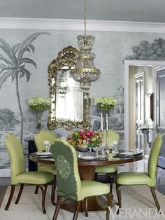 two tone green dining room chairs with embroidered medallion backs