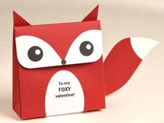 Free printable fox Valentine treat box